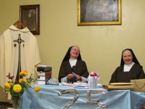 Sr Christine with M Mary of St Joseph at recreation receiving her gifts
